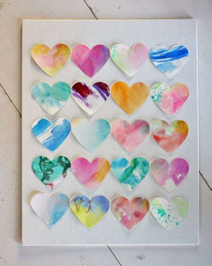 Lavoretti con acquerelli per bambini - Collage di cuori
