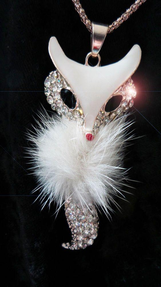 Raffiné pendentif RENARD fourrure strass offert avec sa chaine Betsey Johnson
