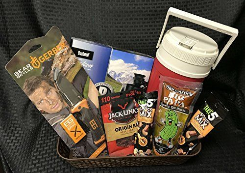 Gerber Folding Survival Knife, Bushnell Binoculars, Igloo Outdoor Thermos, Jack Link's Beef Jerky, Big Papa Dill Pickle, Take5 Snack Mix. For product & price info go to:  https://all4hiking.com/products/gerber-folding-survival-knife-bushnell-binoculars-igloo-outdoor-thermos-jack-links-beef-jerky-big-papa-dill-pickle-take5-snack-mix/