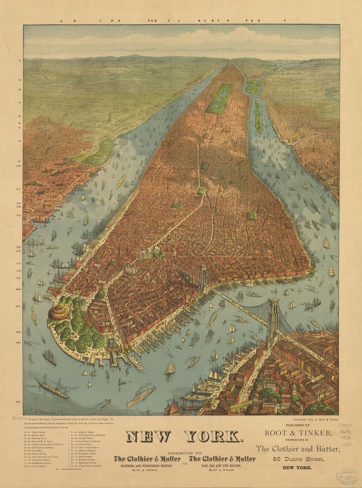 New York oblique map 1879 published by