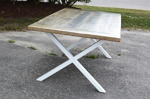 Urban Reclaimed Barn Wood Grey Wash X Base Dining Table