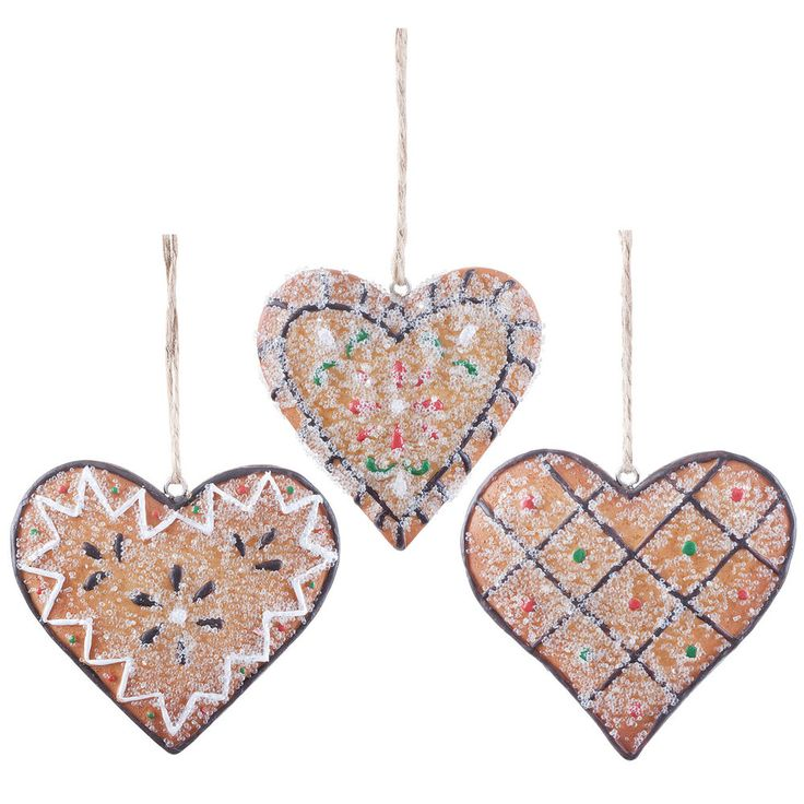 Heart Christmas Tree Decorations Hanging Gingerbread Xmas Cookies Set of 3  #TheChristmasBoutique