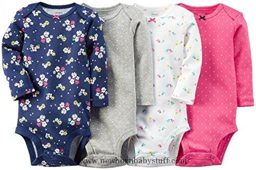 Baby Girl Clothes Carter's Baby Girls' 4 Pack Print Bodysuits, Multicolor, 12M