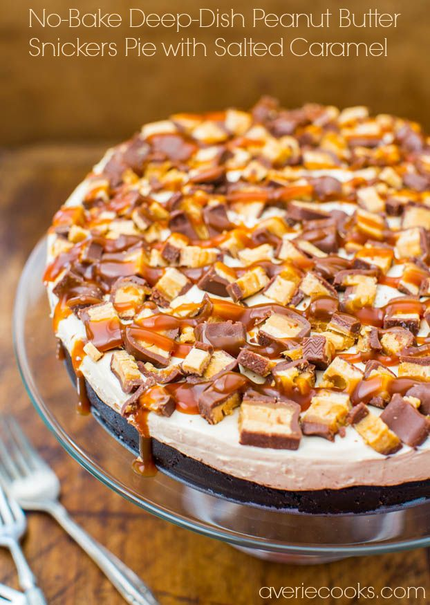 No-Bake Deep-Dish Peanut Butter Snickers Pie with Salted Caramel Recipe ~ Rich, Decadent & Easy!