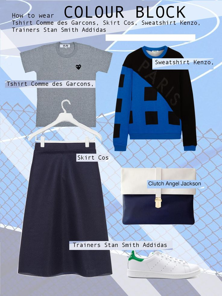 Get this look: Comme des Garcons t-shirt, Cos skirt, Kenzo sweatshirt, Addidas Stan Smith trainers and Angel Jackson clutch  #angeljackson #colour #block #outfit #howtowear #style #blue #annakarinkarlsson #edun #mayamagal #woodwood #sports #luxe