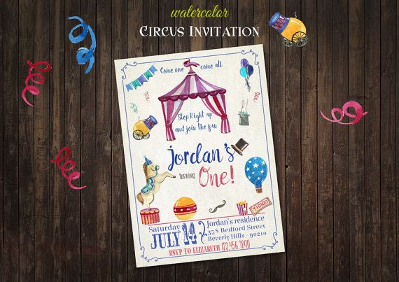 CIRCUS Vintage Elements Invitation DIY Digital by BolleBluParty