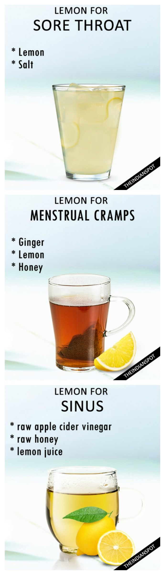 Home remedies using lemon - menstrual cramps, sore throat, and more...