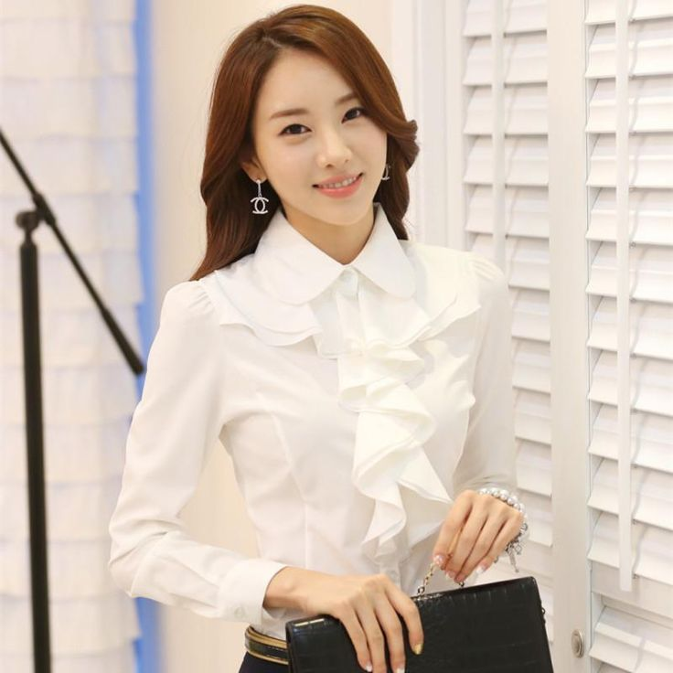 New Arrivals Korean Style Office Work Wear Fashion Elegant Ruffles Long Sleeve Women White Blouse Black Bodysuit Shirt