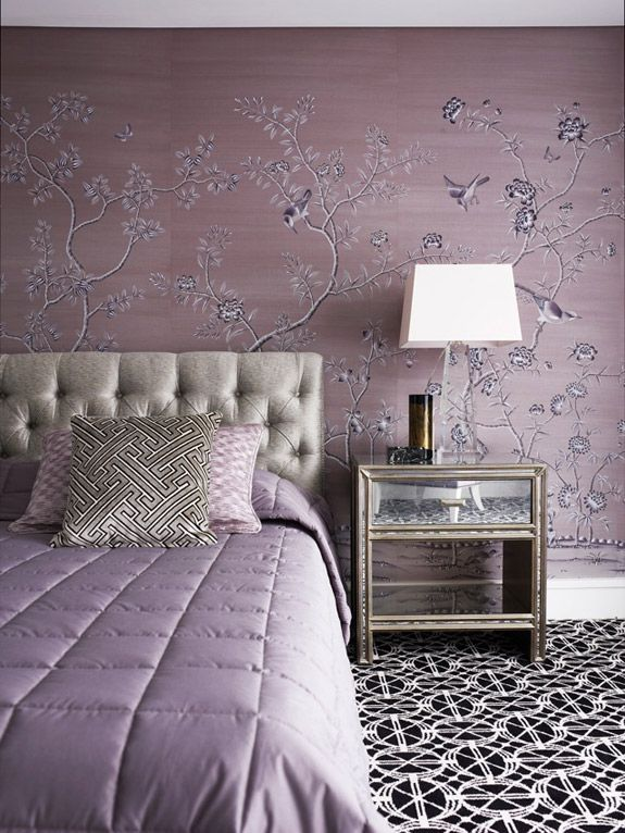 Beautiful Soft Lavender Master Bedroom With Chinoiserie Wallpaper And Bold Black And White Geometric Carpet Adding Depth And Contrast To The Softness Of The