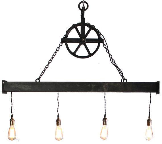 Rustic Light Industrial Chandelier Rope Pulley Yoke Wood Metal: 17 Best Images About Beam Lighting On Pinterest