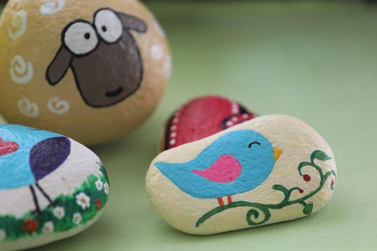 Hand painted#stone#bird#sheep