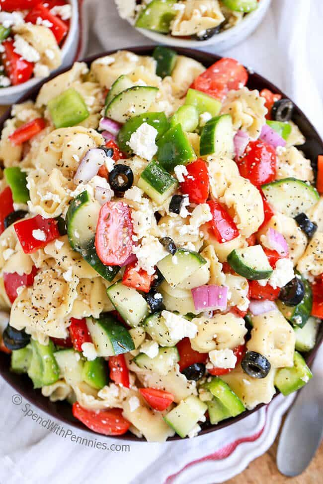 Greek Tortellini Salad has cheese filled tortellini, bell peppers, cucumbers and juicy tomatoes, topped with loads of feta cheese with a greek dressing!