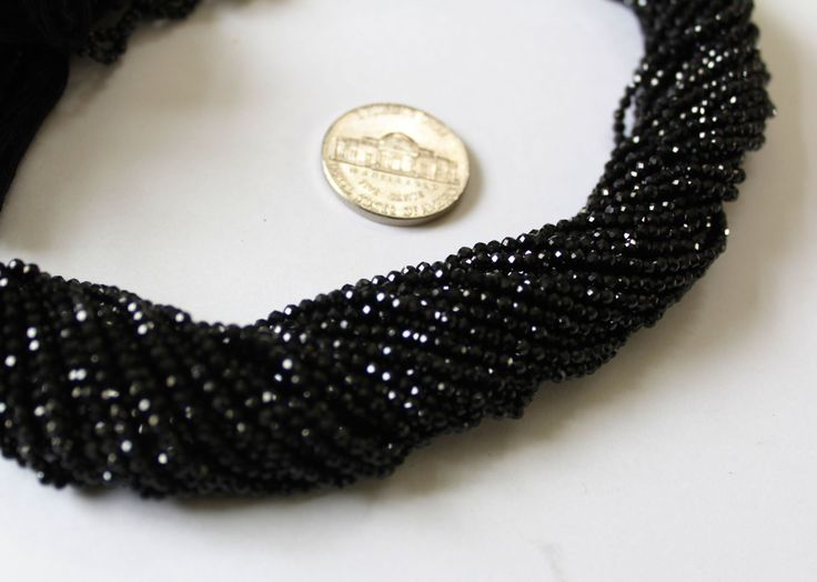 Wholesale Price Super Sale on AAA Quality Natural 2.10mm Black Spinel micro Faceted beads 13.5 inches length Faceted Rondelle Strand by colorvilla on Etsy