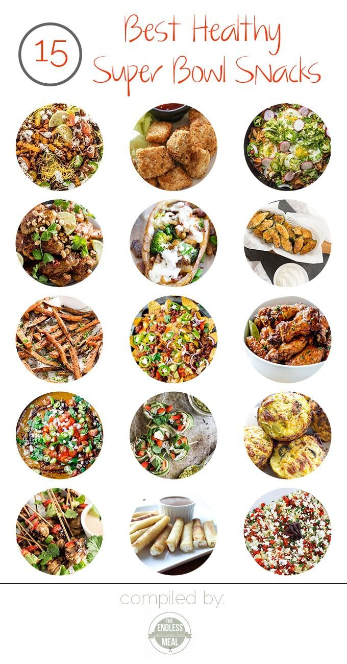 It's almost time for the Super Bowl and we're all about the snacks, the healthy snacks, in fact. The 15 Best Healthy Super Bowl Snacks will wow your guests and they will never miss the extra calories!   theendlessmeal.com   #superbowl #superbowlrecipes #superbowlsnacks #superbowlparty #gamedayfood #footballfood #partyfood #snacks #healthysnacks