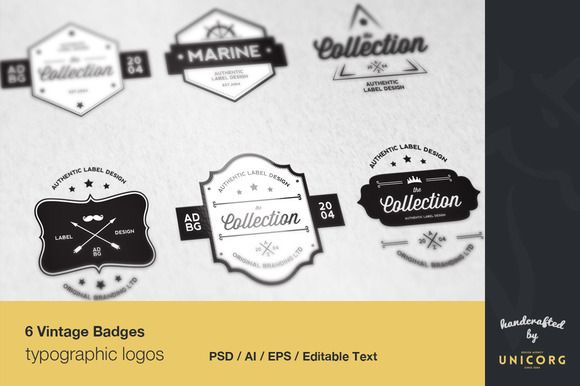 6 Vintage Typographic Logo Badges by chiotis on @creativemarket