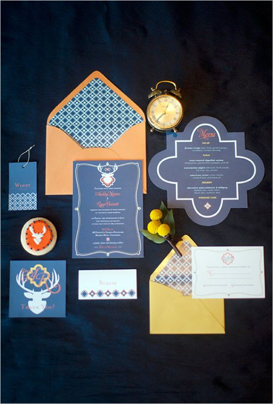 Navy and Orange or Gold Invitation Suite. Can I just say the perfect combination of Phi Mu and Auburn????