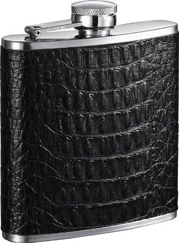 "Visol ""Lucas"" Handcrafted Black Leather 6oz Hip Flask . $32.95"