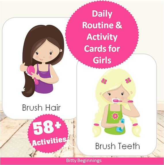 UPDATED | Daily Routine & Activity Cards for Girls | Flashcards | Chore Chart | Instant Download | Toddler Planner | Preschool Planner