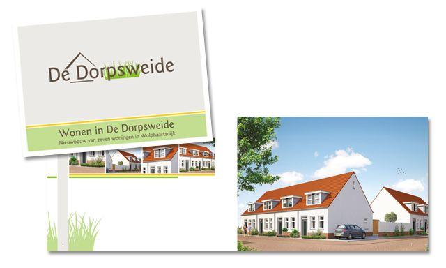 De Dorpsweide - Ontwerp en opmaak van verkoopbrochure, advertenties en flyer/leaflet voor verkoop van 7 woningen in Wolphaartsdijk Opdrachtgever: Bouwbedrijf De Delta BV