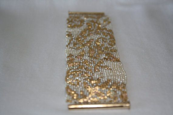 Yellow Gold and Pearl Lace Pattern Peyote Stitch Beaded Bracelet