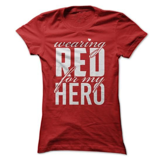 Make this awesome proud Military: Wearing red for my hero as a great gift Shirts T-Shirts for Militarys