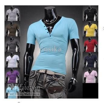 Man solid color v-neck t-shirts with short sleeves – teeteecee - fashion in style