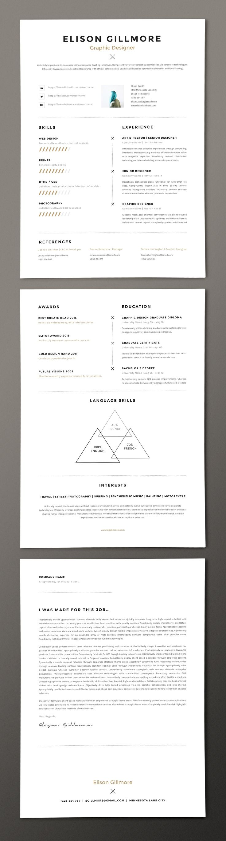 Unique Resume CV | Pages + Word by GoaShape on @creativemarket