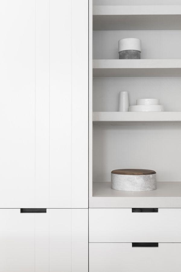 white modern kitchen, open shelves
