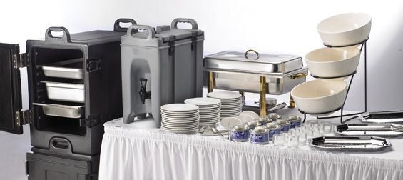 "Some of the essential supplies needed for the ""food area."" These include a hot box, some sort of drink dispenser, chafing dishes/ bowls, ethanol sternos ( chafing fuel), and plates"