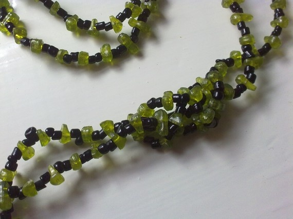 necklace of green and black beads by katerinaki106 on Etsy, $8.00
