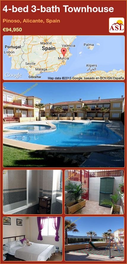 4-bed 3-bath Townhouse in Pinoso, Alicante, Spain ►€94,950 #PropertyForSaleInSpain