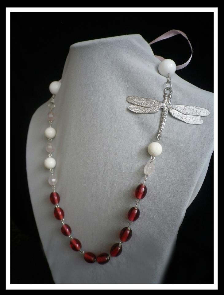 Pink Indian Glass, Rose Quartz, White Coral with Dragonfly Feature:  http://www.facebook.com/ZadiaDesigns