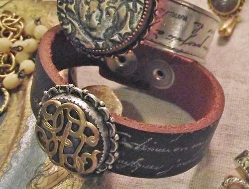 rubber stamped leather cuff bracelet  - from Leather Jewelry-Making Inspiration: Design Ideas Pairing Leather with Metal, Beads, Wire, and More - Jewelry Making Daily