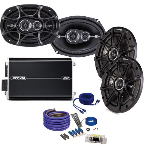 "Kicker DS 6x9 and 6.5"""" Speaker package with Kicker DXA 250 watt 4-channel amp, and amplifier wiring kit"