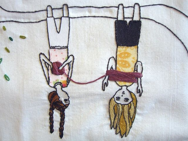 Winding wool (Okay, so this embroidery, but I'm pinning to my knitting board because of the content. How I love this!)