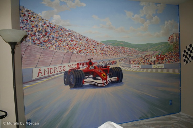 formula one race car boys room wall mural