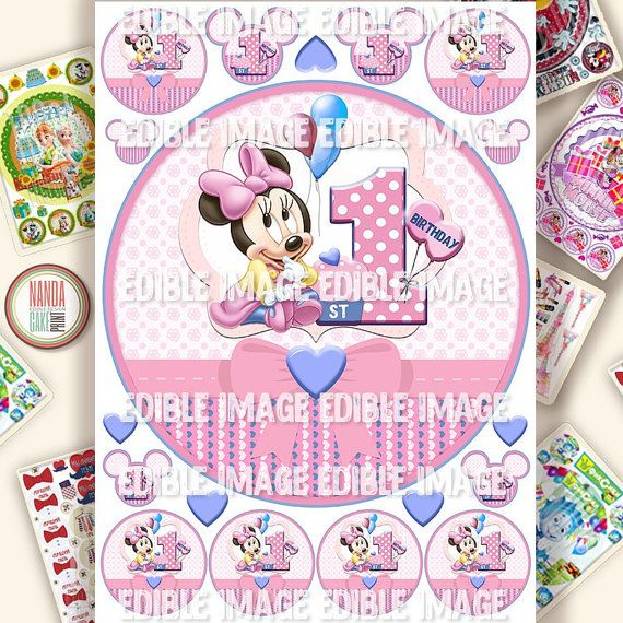 Cake image Minnie Mouse First Birthday Edible Cake Topper Edible Ising Sheet