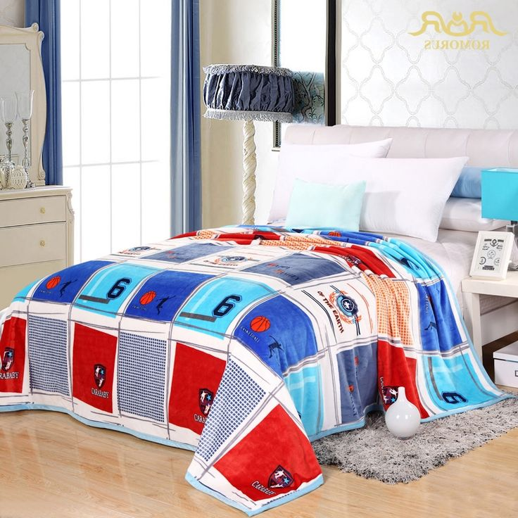 solstlce brand bedding fashionable blue lattice basketball flannel blanket for sofa bed plush fluffy coral cashmere blankets - King Size Blanket