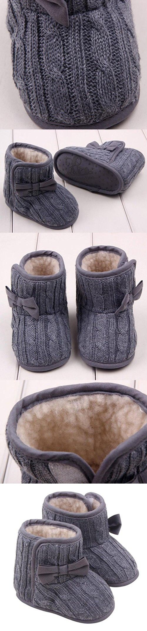 Usstore 1Pair Infant Baby Toddler Bowknot Winter Warm Boots Walker Shoes (0- 6months, B)