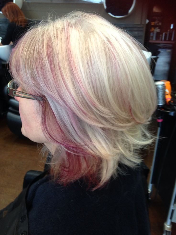 Natural Grey Hair With A Few Blonde Foils And A Purple
