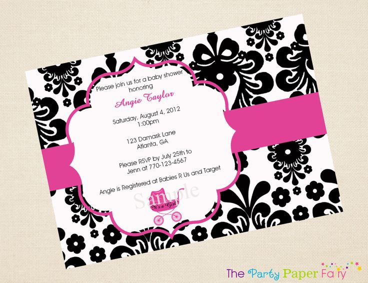 Black and white damask baby shower invitation with hot pink carriage