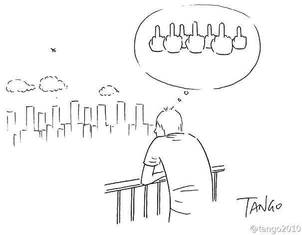 Shangai Tango est un illustrateur imaginatif et bourré d'humour ! Ses illustrations sont assez simples au niveau graphique, en quelques coups de stylo il les crée, mais tout l'intérêt réside dans leurs significations, elles oscillent entre critique subtile de la société, illusions amusantes et calembours visuels ludiques.