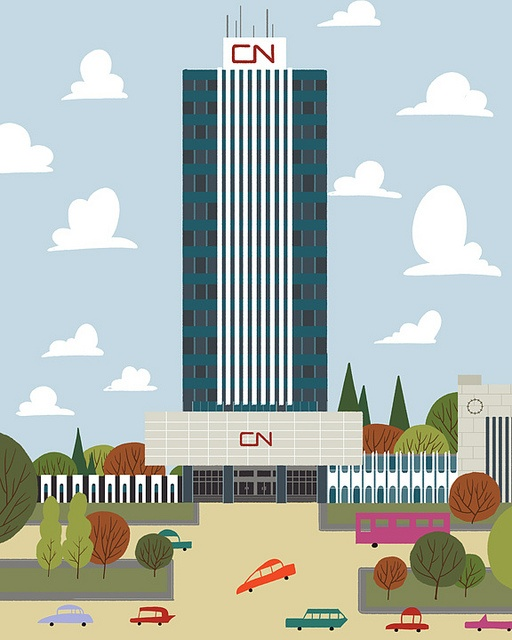 Whimsical graphic / illustration of Toronto's CN Tower