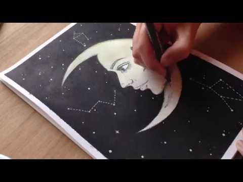 Moonlady Illustration - Ink and Fineliner Speedpaint