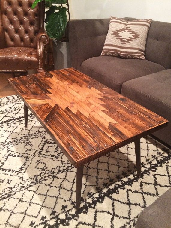 Coffee Table Navajo Aztec Boho Southwestern Native Mid Century Wood Art