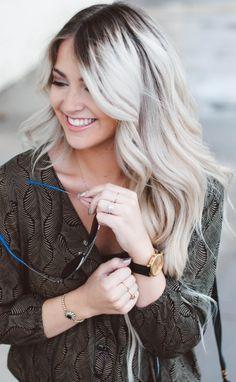grey bleach blonde medium length hair with dark roots - Google Search