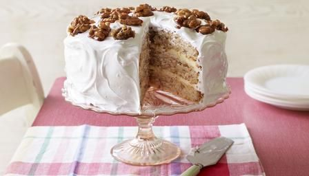 Mary's frosted walnut layer cake