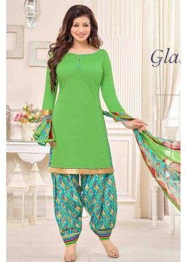 Green Cotton Patiala Salwar Kameez, - Rs. 868.00, #IndianSuit #BollywoodFashion #DesignerDresses #Shopkund