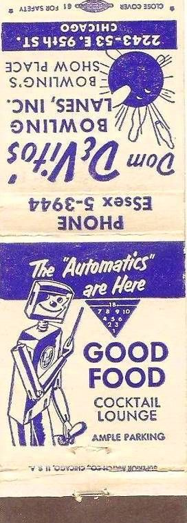 MATCHBOOK - CHICAGO - DOM DEVITO'S BOWLING LANES - 2243 E 95TH - ROBOT CARTOON - AUTOMATICS ARE HERE