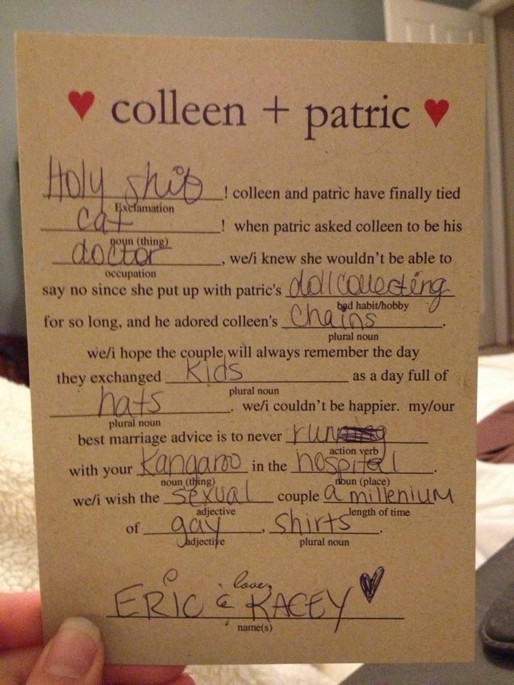 For all my single friends, please do this at your wedding...how fun would that be! wedding mad-libs
